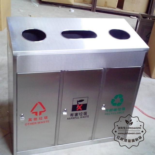 扬州市木齐室内不锈钢三分类垃圾桶采用优质冷轧钢材料经激光切割剪